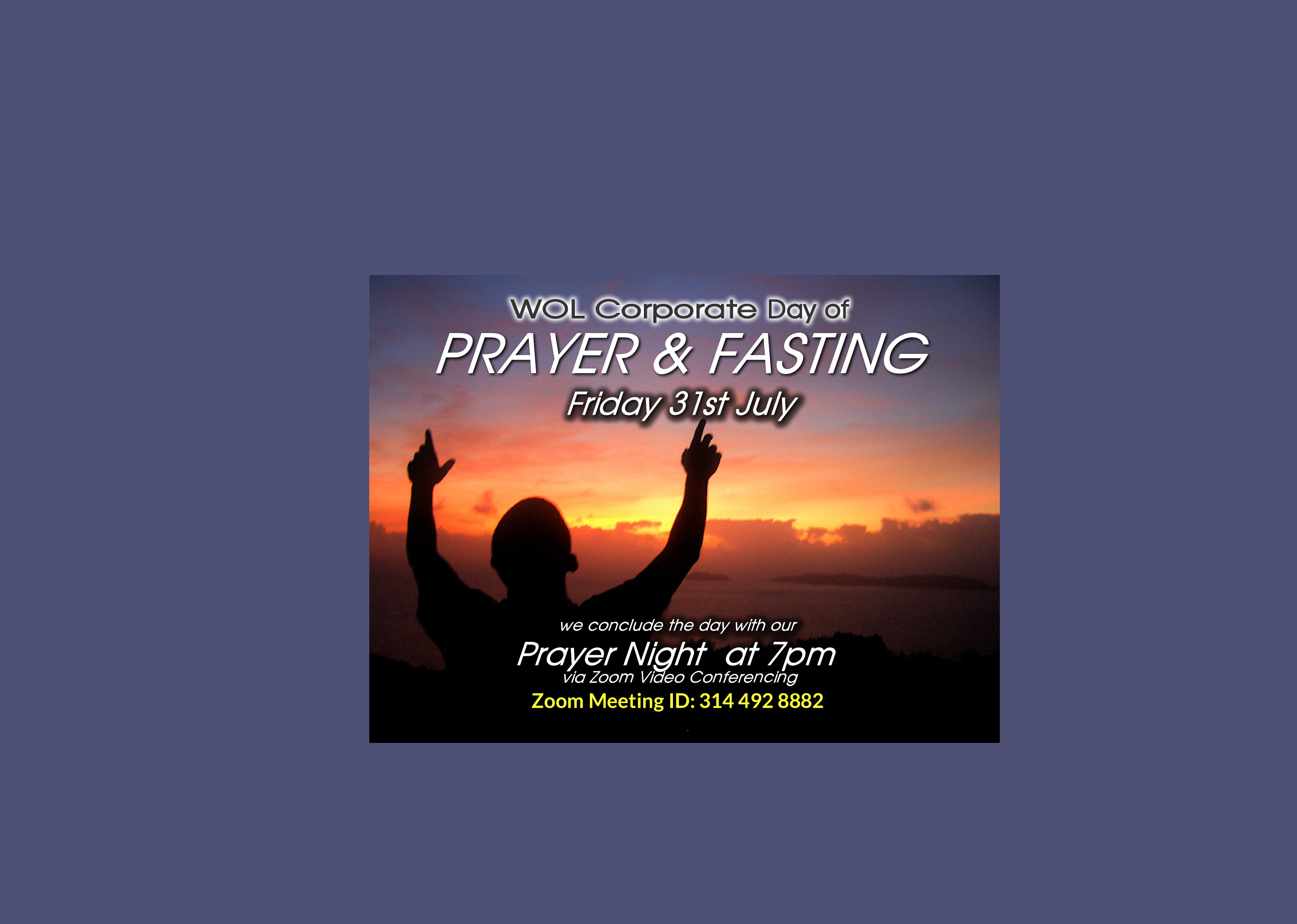 Corporate Day Of Prayer  Fasting  July   Web